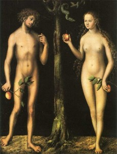 Lucas Cranach's Adam and Eve (1528), via the Uffizi Gallery